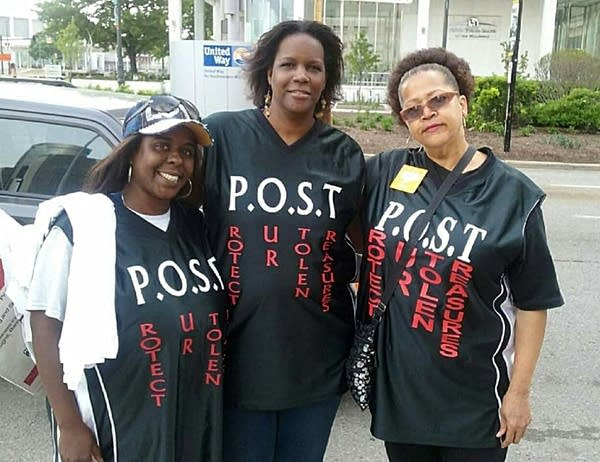 Yolanda McNair, center, with Kimberly Griffin, left, Madge Penny Morgan.