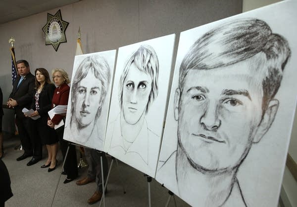 Law enforcement show drawings of suspected serial killer in 2016.