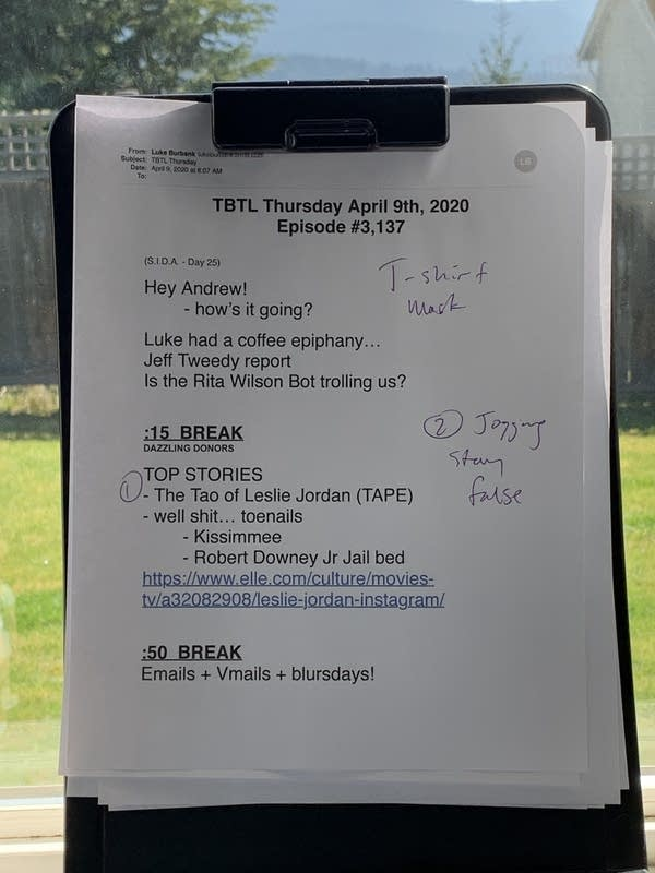 Luke's TBTL show sheet for today's episode