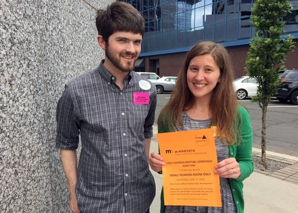 Andy Pearson, staff for MN350, and Natalie Cook, staff for the Sierra Club