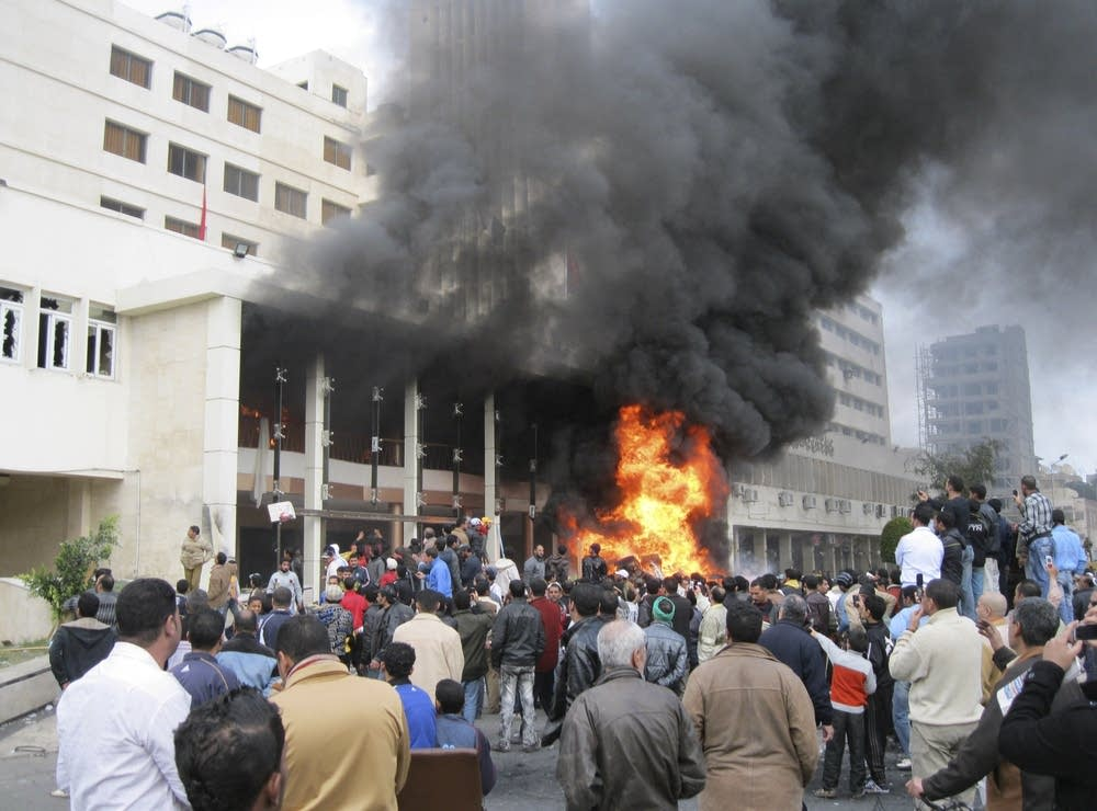 Government headquarters burned