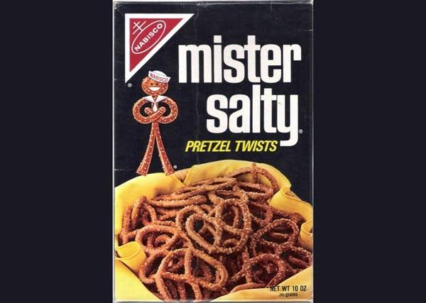A box of Mr. Salty pretzels