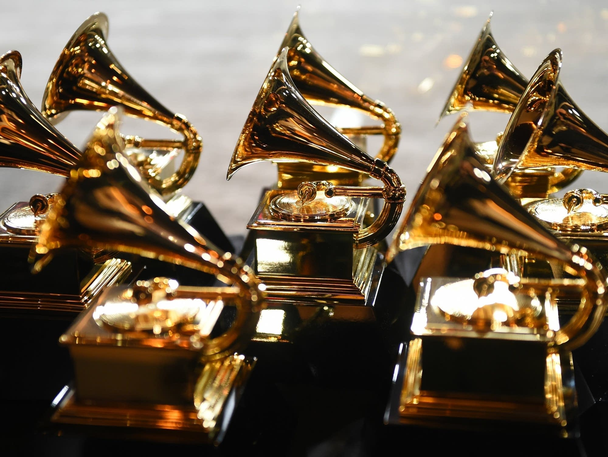Trophies on display at the Grammy Awards, 2018.