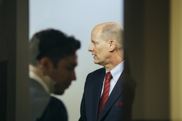 Paul Gazelka, R-Nisswa, stands in a green room after a press conference.