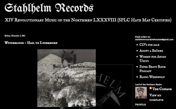 Stahlhelm Records sells 'white power' music.