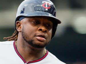 Miguel Sano of the Minnesota Twins rounds the bases on a solo home run.