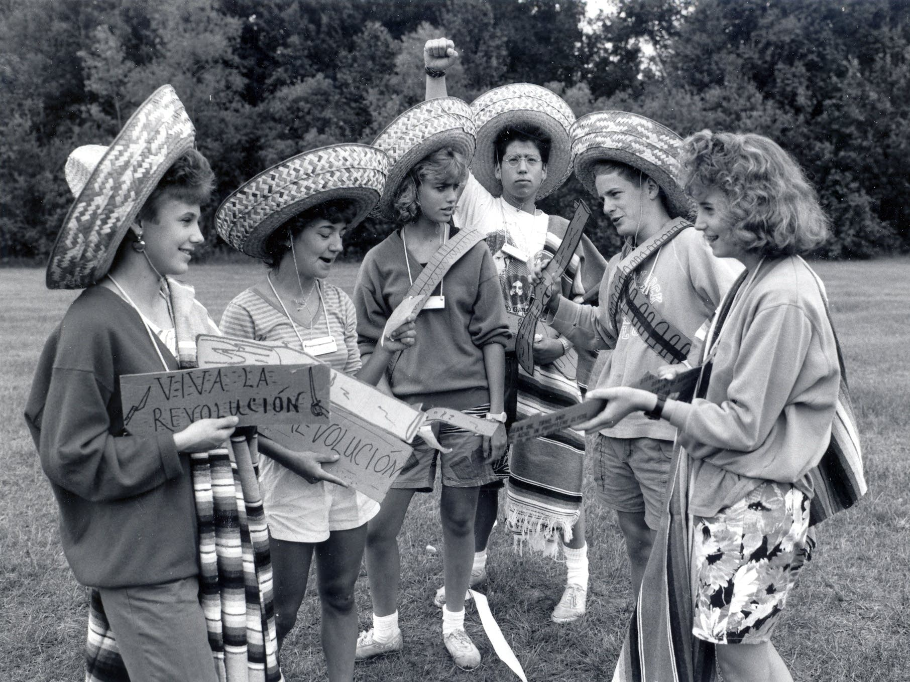 Spanish villagers re-enact the Mexican revolution.