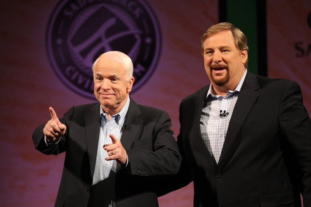 Sen. John McCain, R-Ariz., and pastor Rick Warren