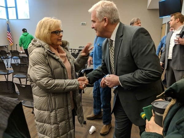 U.S. Rep. Tom Emmer answered questions at a town hall meeting.