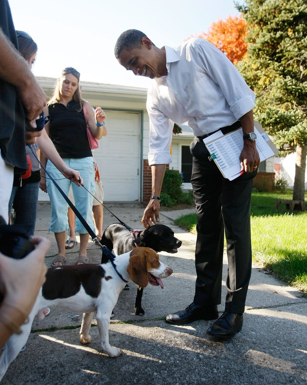 Obama greets some dogs on the campaign trail