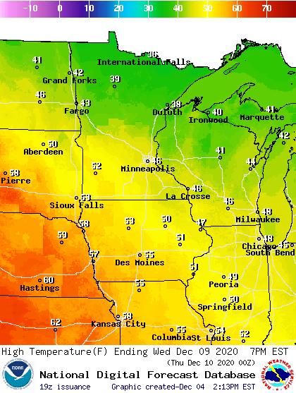 Forecast high temperatures Wednesday, December 9