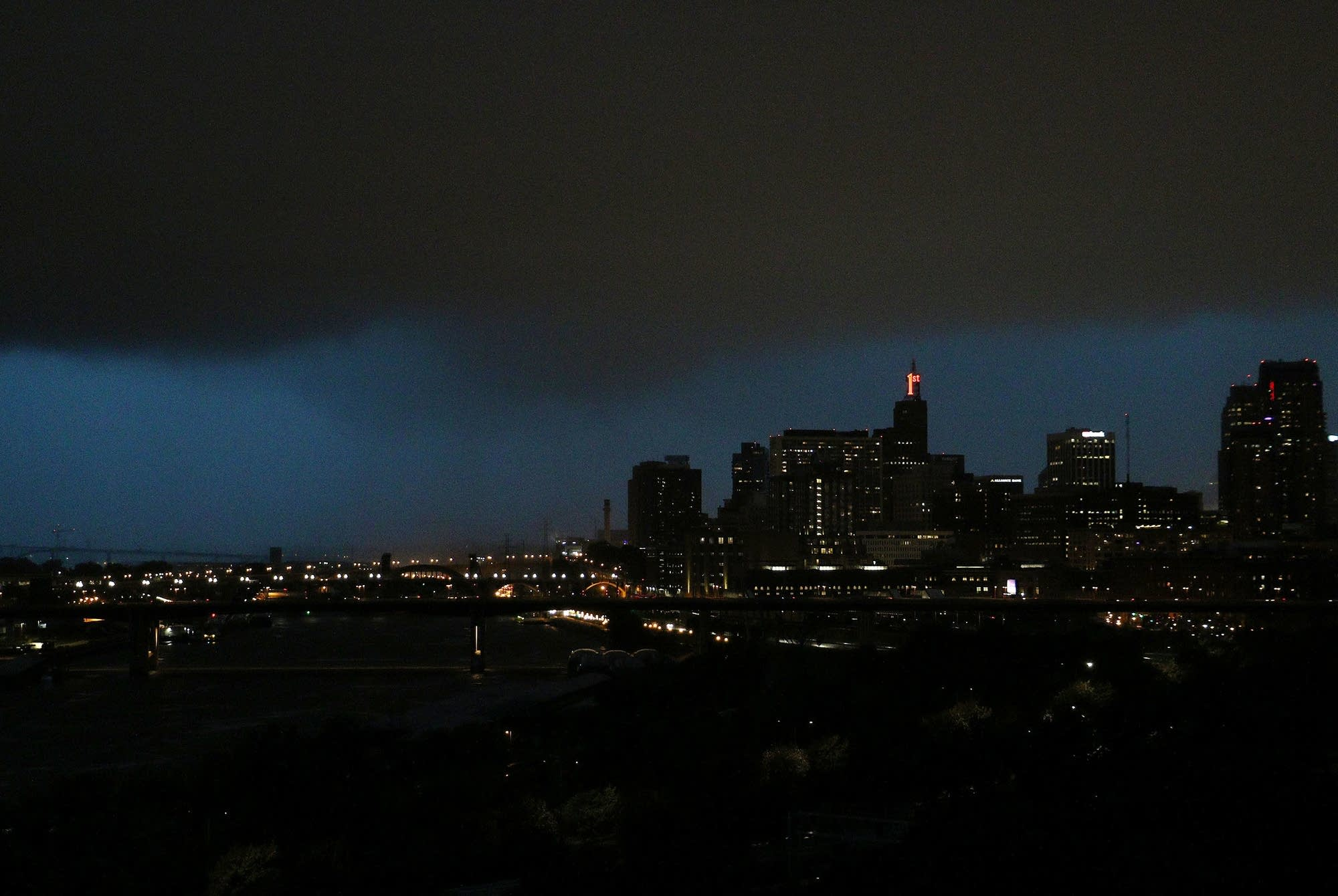 A storm as it moved toward downtown St. Paul