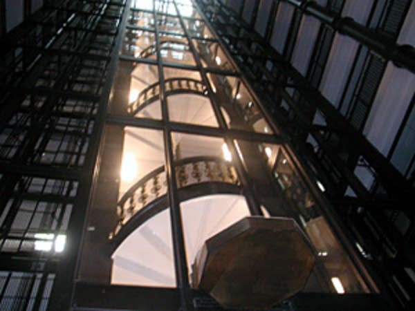 Elevator shaft and stairs