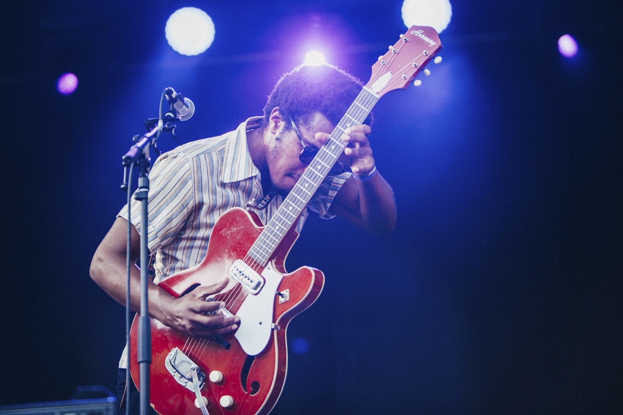 Benjamin Booker and one of his guitars.