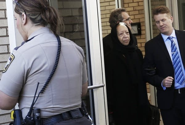 Norrine Nelson leaves the courthouse.