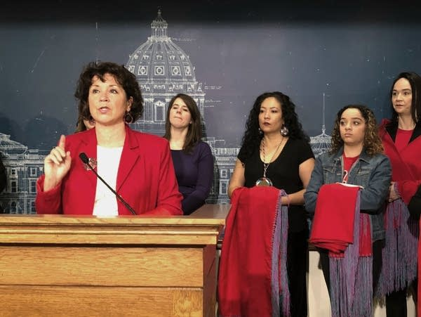 Rep. Mary Kunesh-Podein, D-New Brighton, speaks at a news conference.