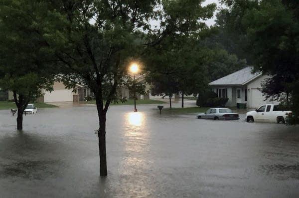 A flooded street in Marshall, Minn.