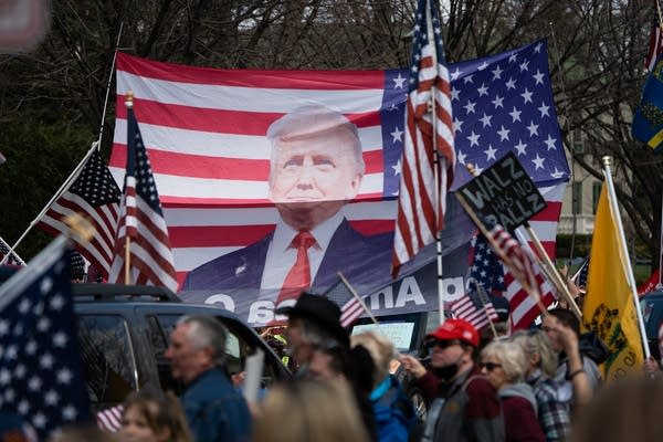 A picture of Trump on a giant flag.