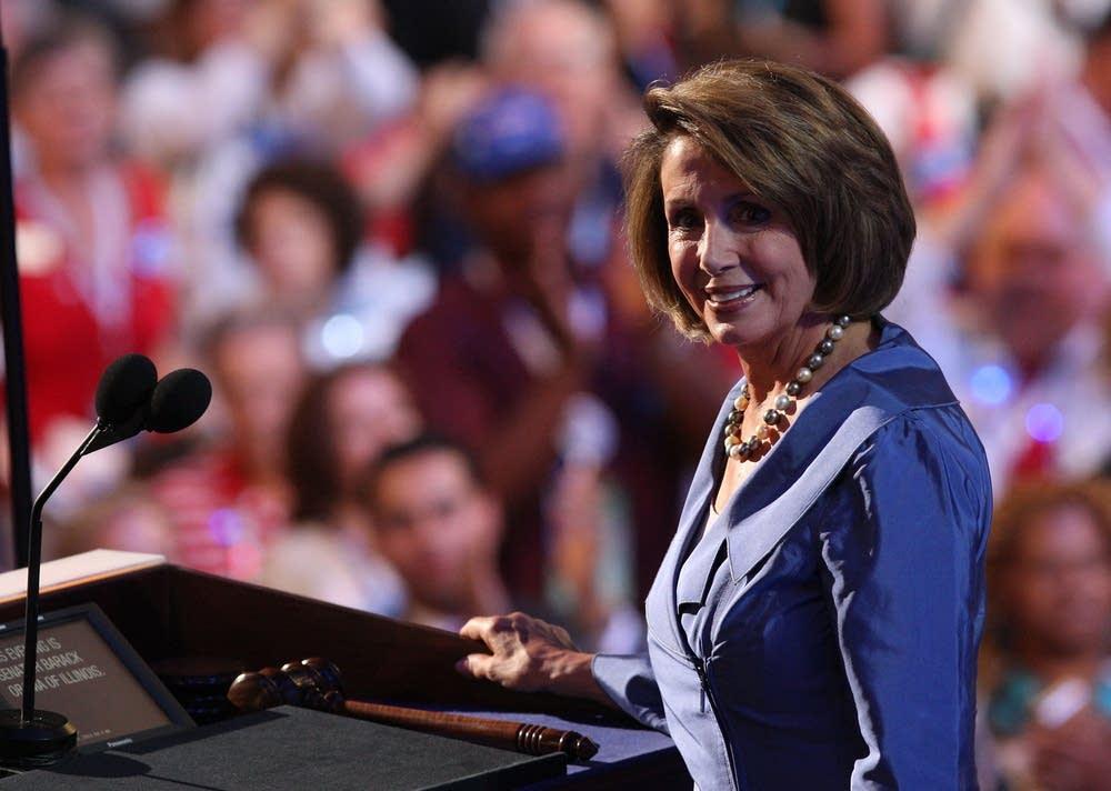 Nancy Pelosi speaks during day 3 of the DNC