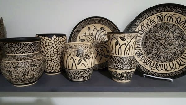 Ceramics and pottery on display.