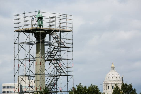 Scaffolding surrounds the statue of Josias King.