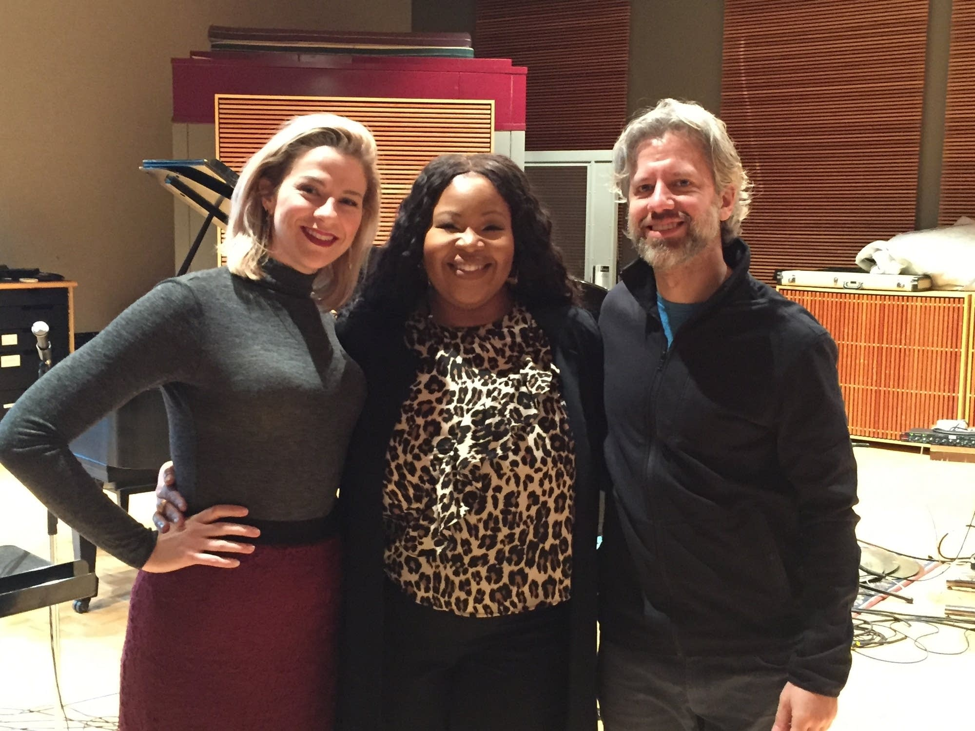Singers Karen Slack, Catherine Martin and stage director Joel Ivany