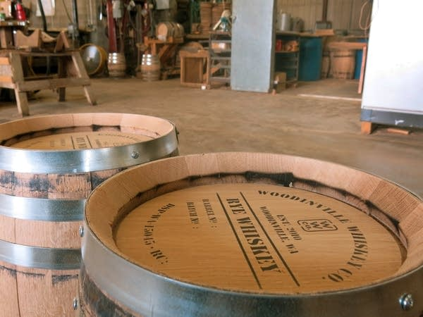 Two whiskey barrels, finished and ready to ship.