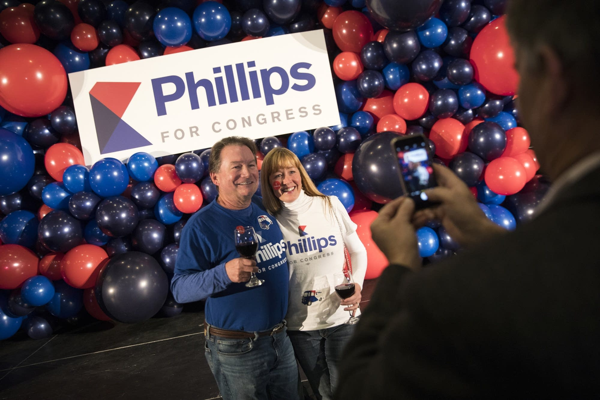 Phil and Liesl Forve take a picture together while awaiting results.