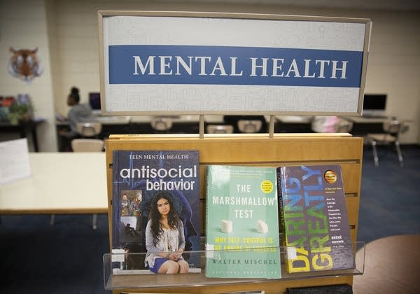 "A sign reads ""Mental Health"" on a wooden shelf with books."