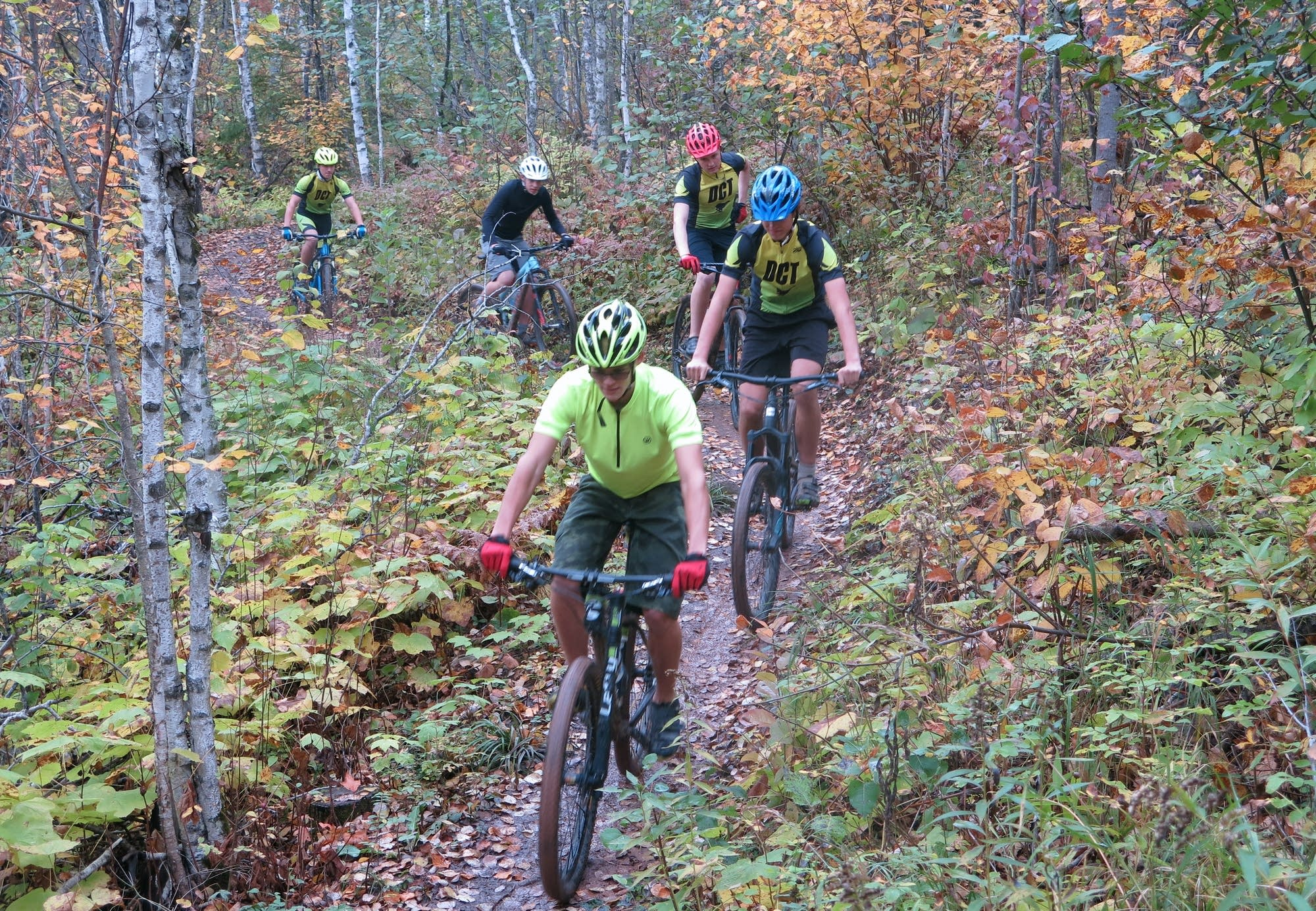 The Duluth Composite high school mountain bike team on a practice ride.