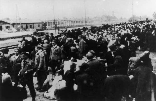 Deportees at Auschwitz