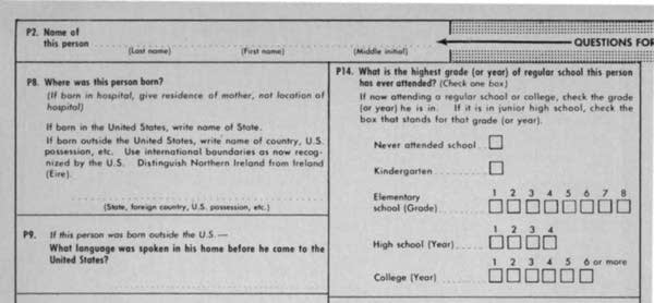 The 1960 census form.