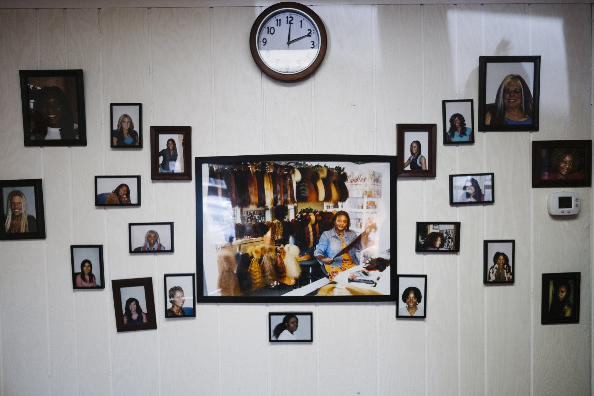 A photo of Joyce Iyawe is surrounded by photos of happy customers.
