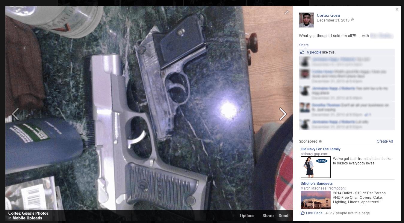 Cortez Gosa posted photos of guns on Facebook.