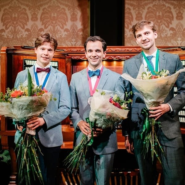 2019 Longwood International Organ Competition winners: Sebastian Heindl, Bryan Anderson, and Colin MacKnight