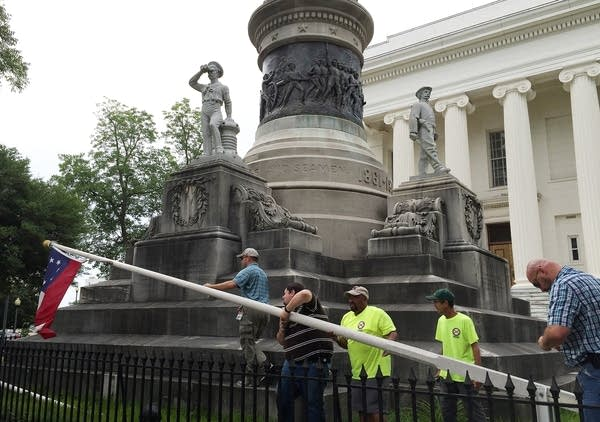 Taking down a Confederate flag in Alabama