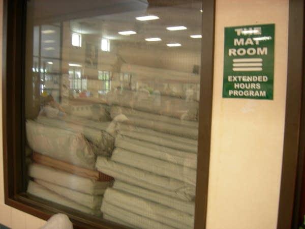 Grab a mat from the mat room