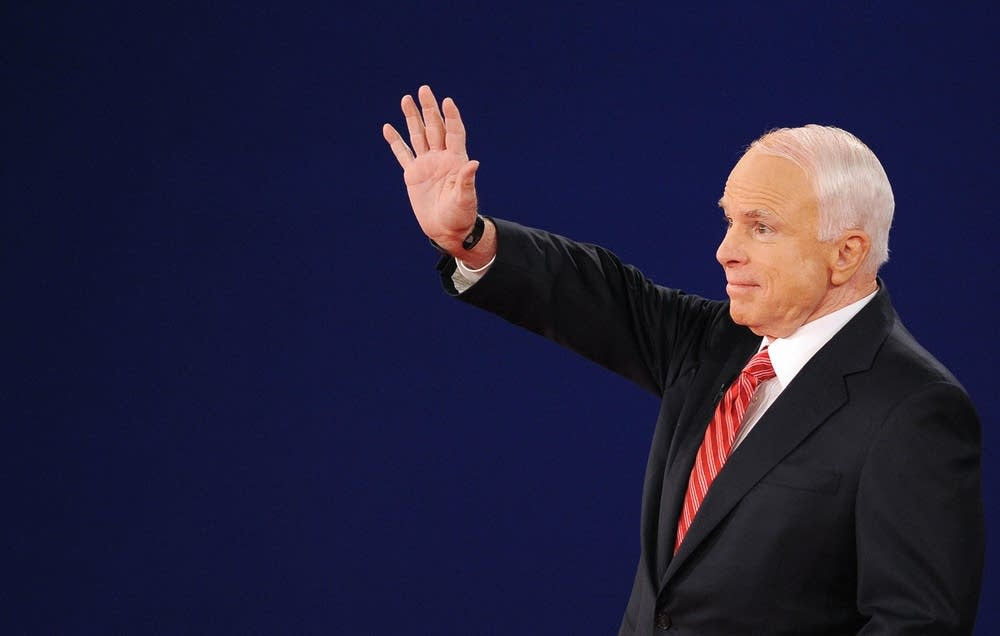 Republican John McCain greets the audience