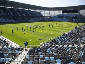 Minnesota United players take to the pitch at Allianz Field for training.