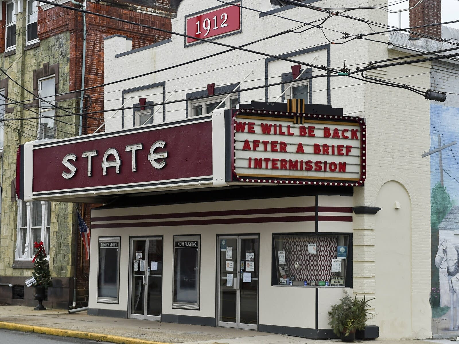 The State Theatre in Boyertown, Pa., shut down during pandemic