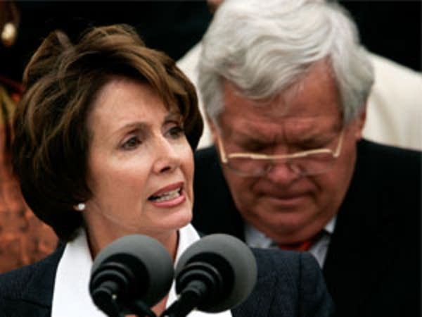 Nancy Pelosi and Dennis Hastert