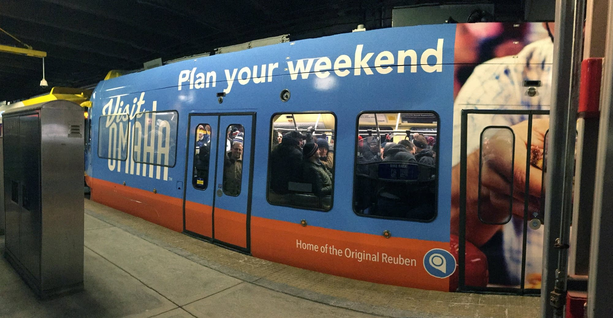 Light rail trains leaving the MOA headed to the stadium were full.