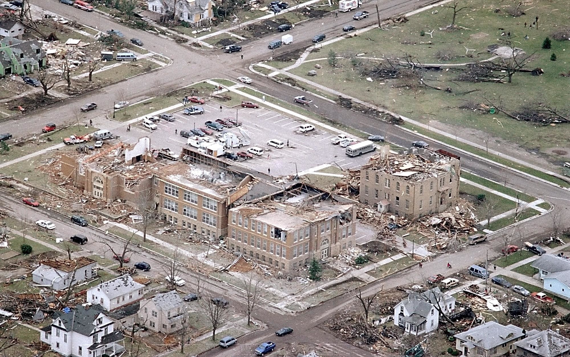 The St. Peter Arts and Heritage Center after the tornado.