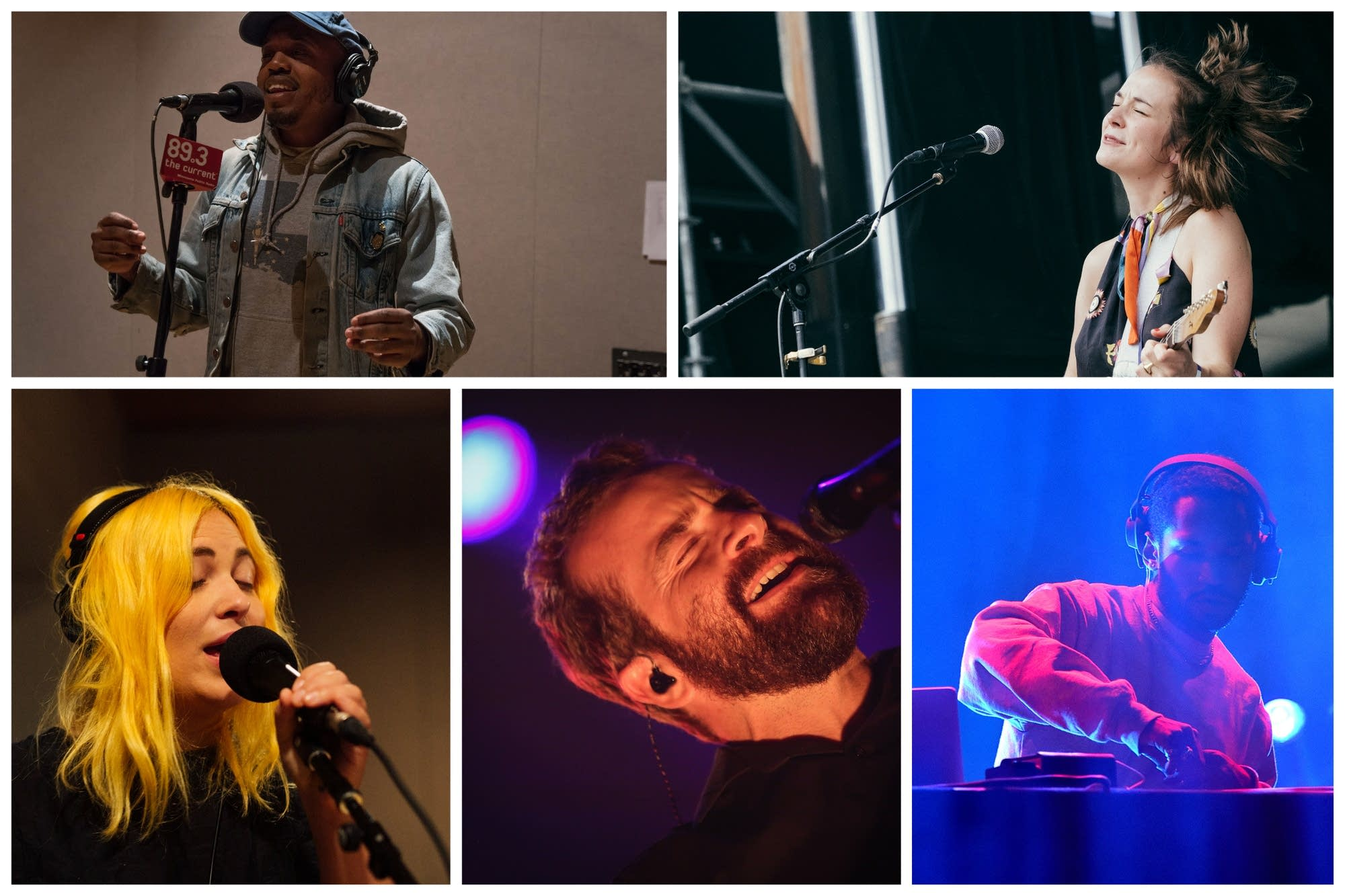 A collage of artists whose new music is being featured on The Current.