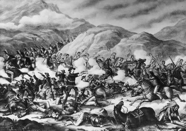 A painting of the Battle of the Little Bighorn