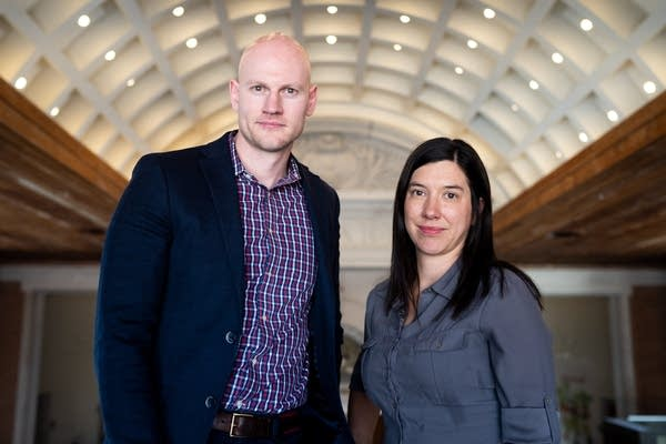 Researchers James Densley and Jillian Peterson stand for a portrait