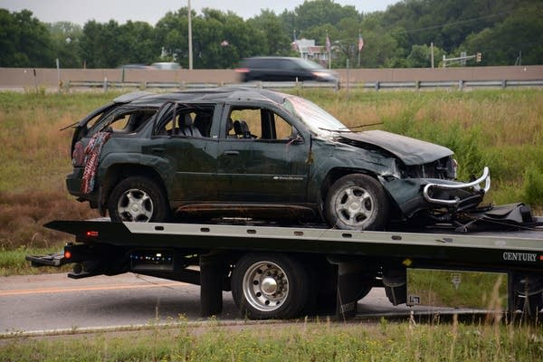 Five people were injured in an I-694 rollover