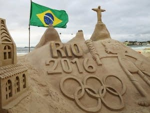 The Olympic rings in a sand sculpture