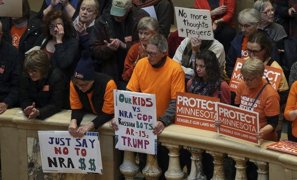 Hundreds gather in the State Capitol rotunda during a rally