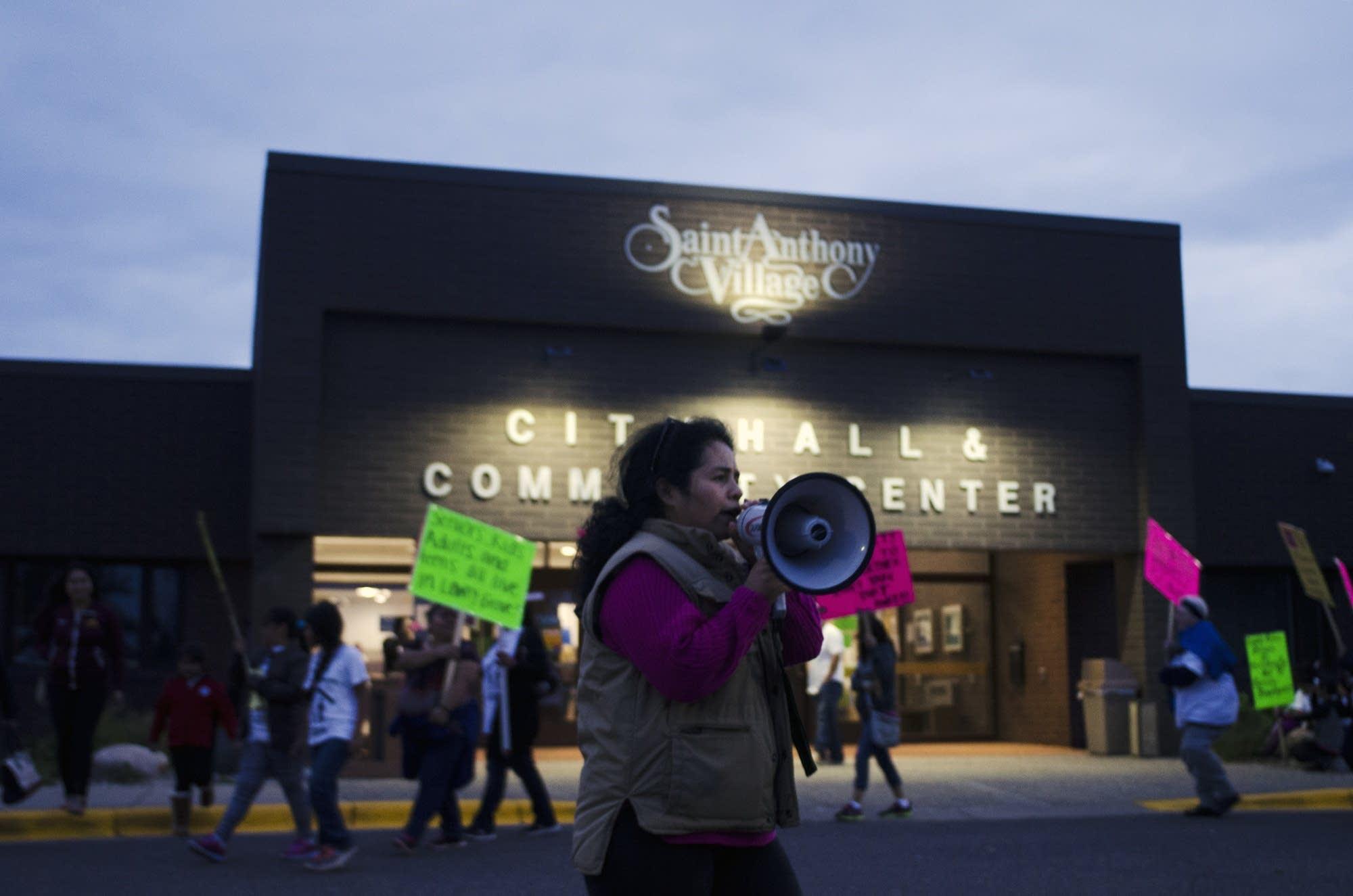 Lowry Grove Resident Antonia Alvarez Leads Chants